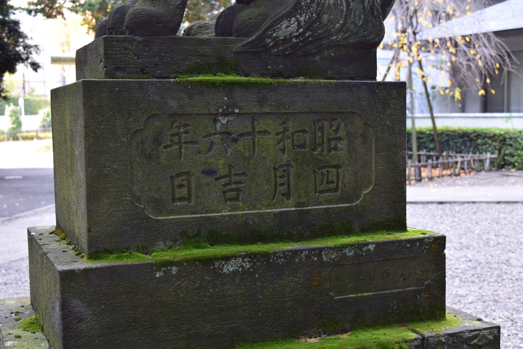 東中野氷川神社 西側参道 狛犬裏