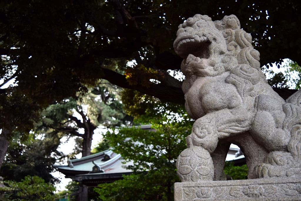 上高田氷川神社 狛犬 阿